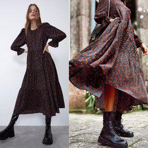 NWOT Zara Black Floral Tiered Boho Midi Dress
